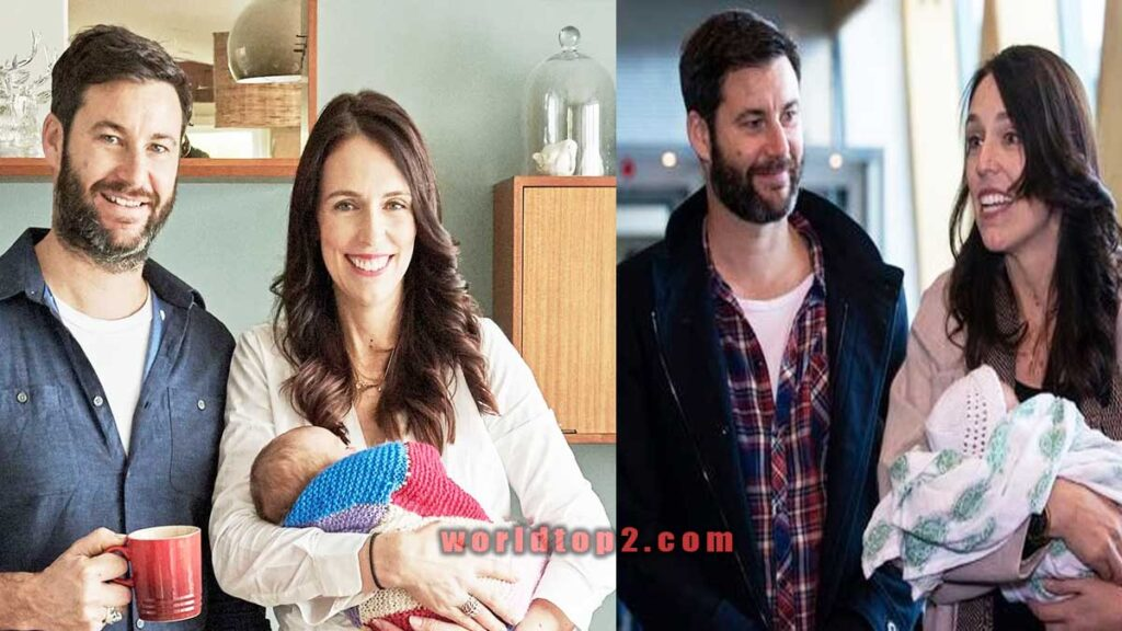 Clarke Gayford with her wife Jacinda Ardern and daughter